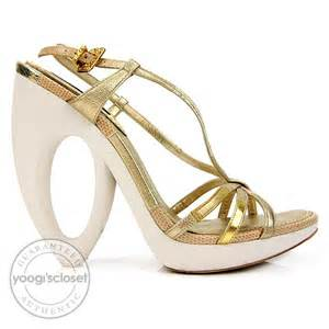 Louis Vuittons Feerique T Sandals Shoes With Gold Plated Heels by Louis Vuitton Gold Feerique Morganne Wedge Sandal Heels