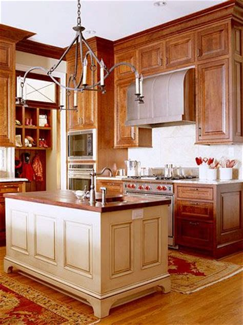 Cherry And White Kitchen Cabinets by Contrasting Kitchen Islands