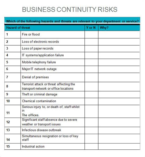 Business Impact Analysis Template 6 Business Impact Analysis Sles Sle Templates