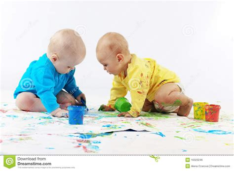 free painting for babies babies painting royalty free stock image image 16323246