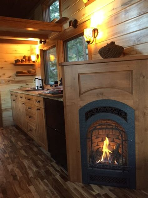 tiny house fireplace simblissity tiny homes stone cottage