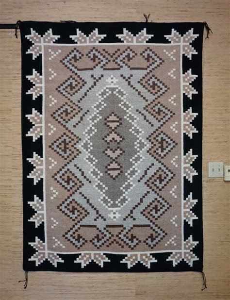 Two Grey Rugs For Sale by Large Two Grey Navajo Rug With A Half Snowflake
