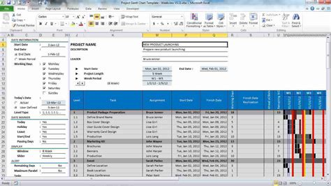 project template excel excel project plan template