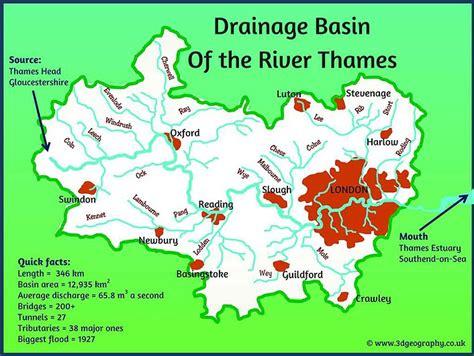 River Thames Drainage Basin Map   river diagrams