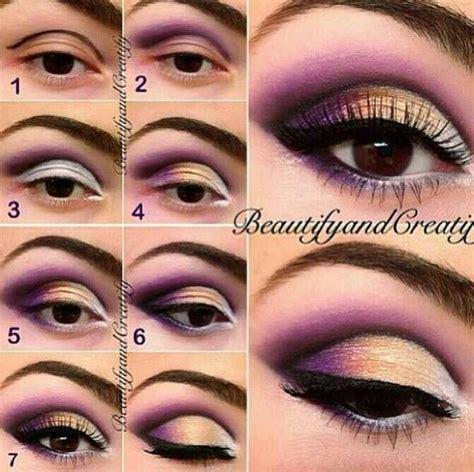 eyeshadow tutorial cut crease purple gold cut crease make up pinterest more cut