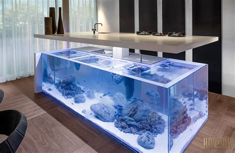 fish tank bench this kitchen island is also a giant aquarium bored panda