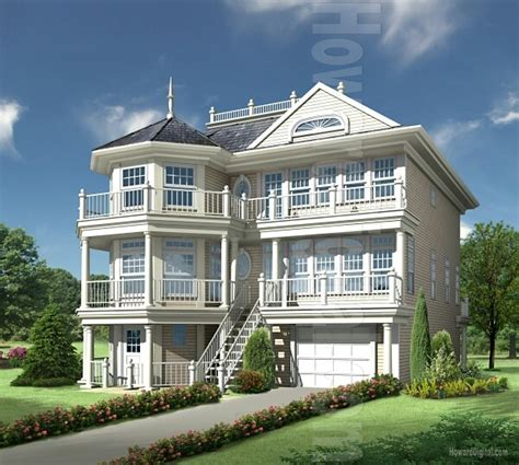 3 Story House White 3 Story House With Balconies All Around