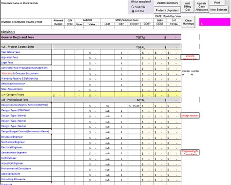 Construction Estimating Excel Work Excel Estimate Sheet Template