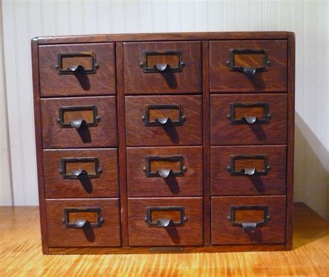 antique oak 12 drawer library card catalog file cabinet