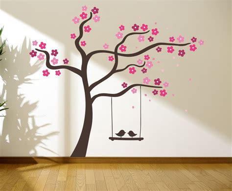 Wall Stickers Tree Branches tree with love birds on a swing wall graphics wall