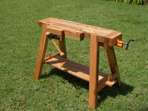 saw horse work bench traveling work saw bench by jayt lumberjocks com