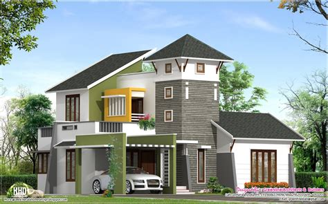 unique villa elevation kerala home design floor