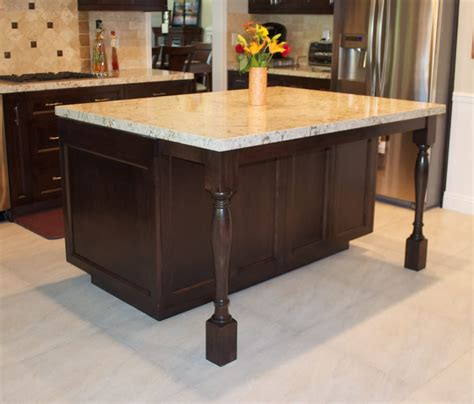 wooden kitchen island legs uk yorba kitchen island after photo turned legs design with cambria quartz counter tops yelp