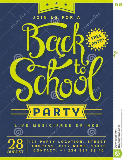 back to party invitation stock vector image