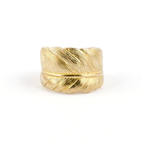 gold feather ring 9ct take flight frillybylily