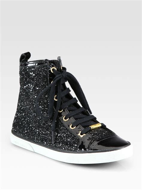 jimmy choo destin glitter patent leather high top sneakers