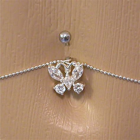 cz butterfly belly button ring with belly chain ebay
