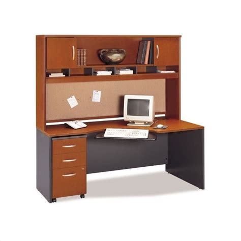 Home Computer Desk With Hutch Bush Business Home Office Computer Desk Set With Hutch In Auburn Maple Bsc049 485