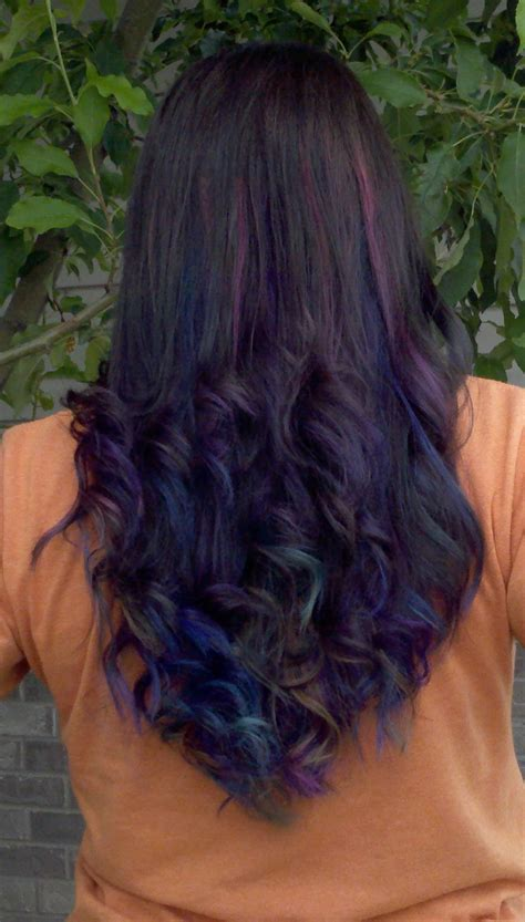 brownish blavk hair with a coiple of blue braids for 10year olds hair highlights dye and i m undecided t h e d r e a