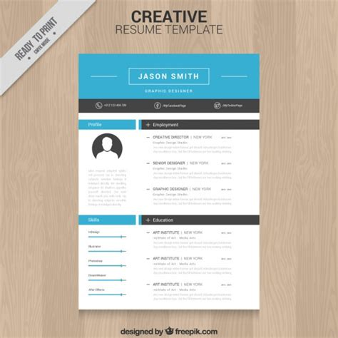 Creative Resume Template Free by Creative Resume Template Vector Free