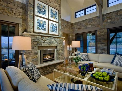 hgtv dream home great room  stone walls hgtv