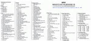 decode your bmw vin including factory option list e30