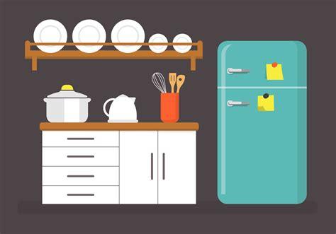 Kitchen Vector Flat Kitchen Vector Illustration Free Vector