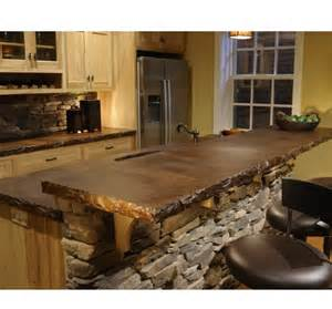 acid stained concrete counter top with rock bar i want