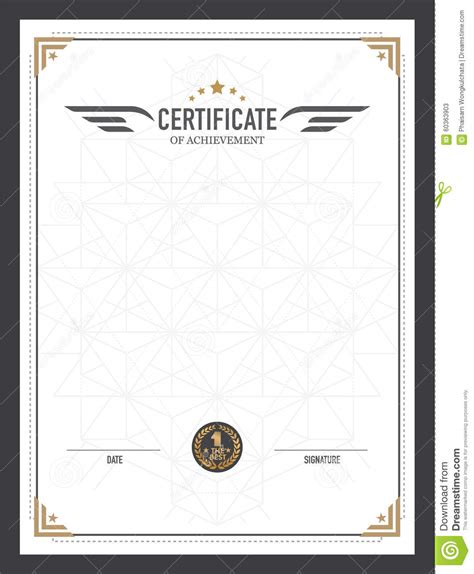 design certificate template retro certificate design template stock vector