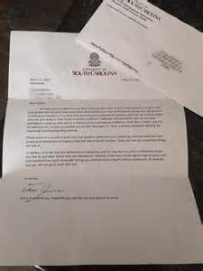 Usc Decline Letter Rejected From Of South Carolina And Invited To Prom In Same Letter