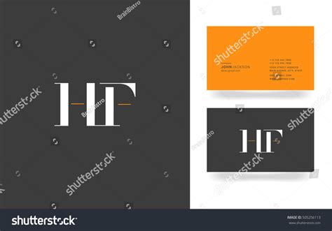 card with logo template h f letters logo business card stock vector 505256113
