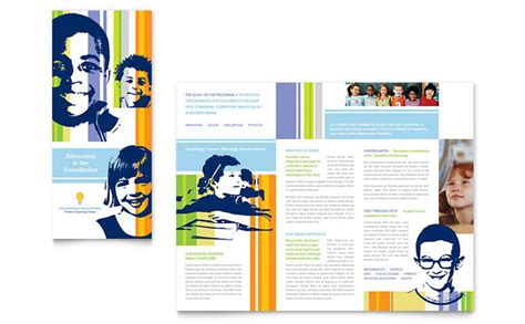 school brochure templates learning center elementary school brochure template design