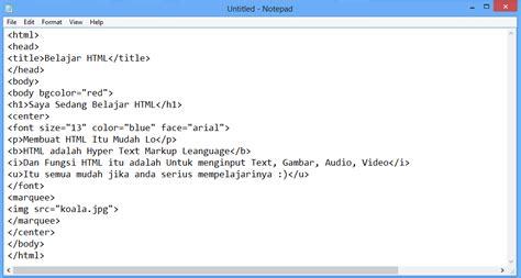 membuat html sederhana menggunakan notepad cara membuat web sederhana notepad cara membuat web