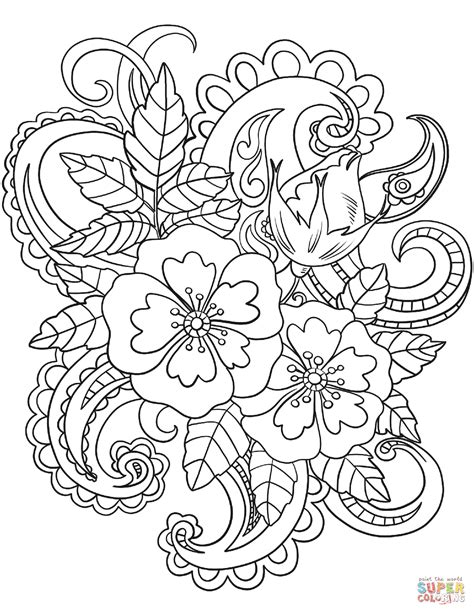 flower color pages flowers with paisley patterns coloring page free