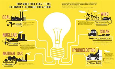 infographic energy use of a 100 watt light bulb per year