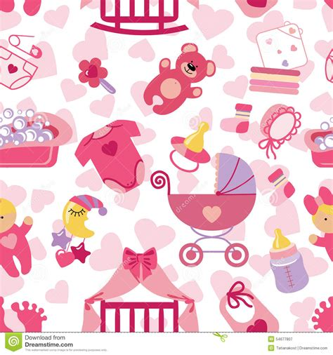 baby cute wallpaper vector newborn baby girl seamless pattern stock vector image