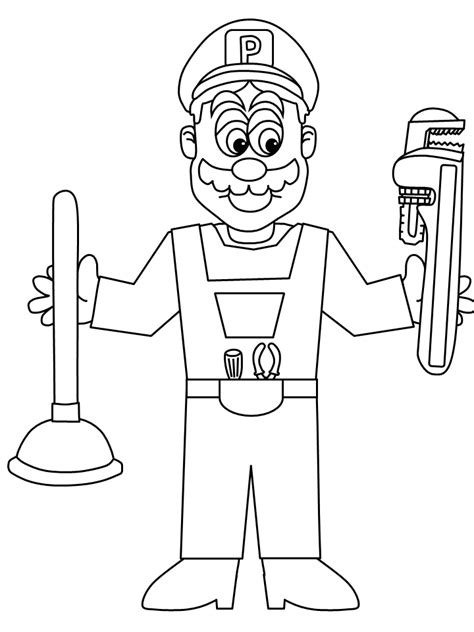 Page Plumbing by Construction Tools Coloring Pages Coloring Home