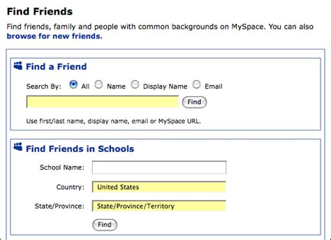 My Space Search Can I Search For Myspace Friends Based On School Ask
