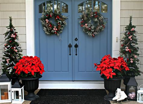 poinsettia on porch front door decorations corner