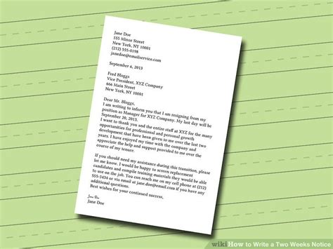 a week notice letter sample vague two weeks template comp newest