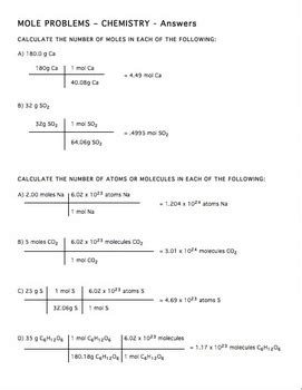 Worksheet Mole Mole Problems by Mole Practice Worksheet 2 By Brown Science Tpt
