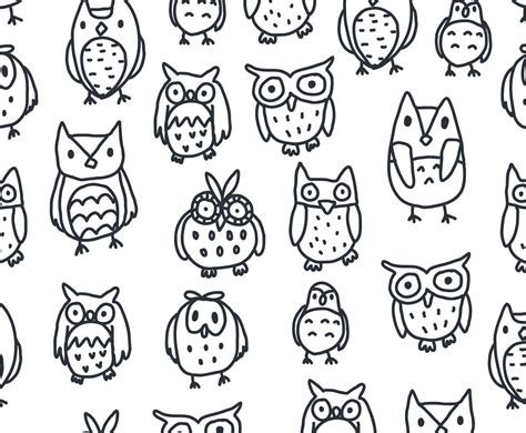 owl pattern vector free download black and white owl pattern vector free vectors ui