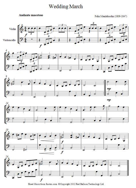 Wedding Song Violin Sheet by Mendelssohn Wedding March From Midsummer Nights