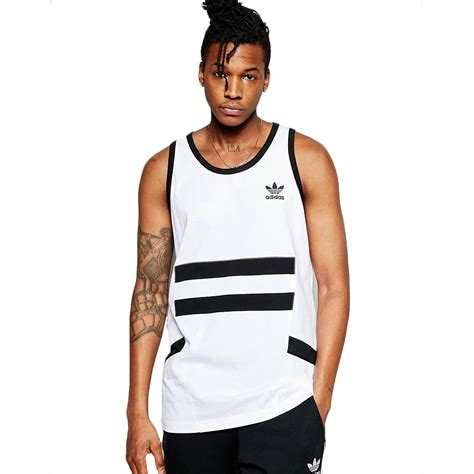 Tank Top Logo Vest Merah adidas originals mens logo sleeveless vest tank top