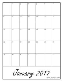 Black Calendar Template by 2017 Blank Monthly Calendar