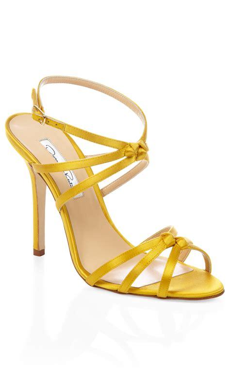 yellow strappy high heel sandals oscar de la renta yellow hudson strappy heel in yellow lyst