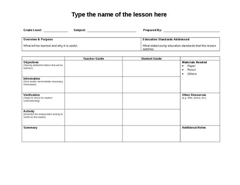 lesson plan template word document search results for template for lesson plan