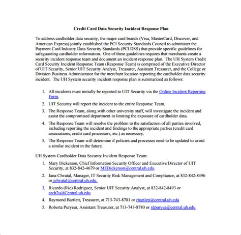 credit card security policy template security plan template records access security plan