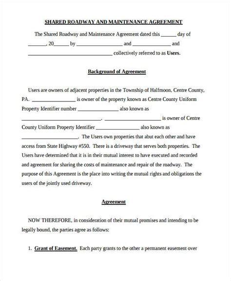 road agreement template road agreement template 28 images road maintenance