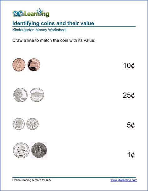 free preschool kindergarten money worksheets printable